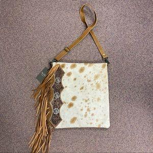 Cowhide Fringe Leather Bag Crossbody Purse Concho